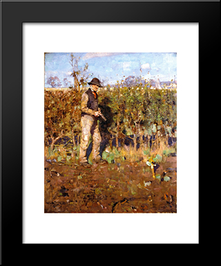The Hedgecutter: Modern Black Framed Art Print by George Henry