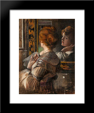 The Tortoiseshell Mirror: Modern Black Framed Art Print by George Henry