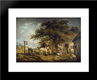 A Halt Of A Soldier And His Family: Modern Black Framed Art Print by George Morland