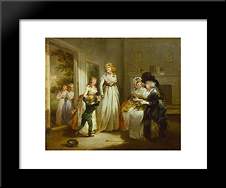 A Visit To The Boarding School: Modern Black Framed Art Print by George Morland