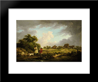 A Windy Day: Modern Black Framed Art Print by George Morland