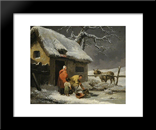 Breaking The Ice: Modern Black Framed Art Print by George Morland