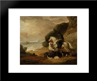 Buying Fish: Modern Black Framed Art Print by George Morland