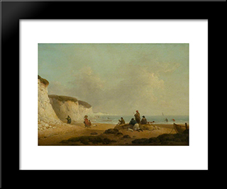 Calm Off The Coast Of The Isle Of Wight: Modern Black Framed Art Print by George Morland