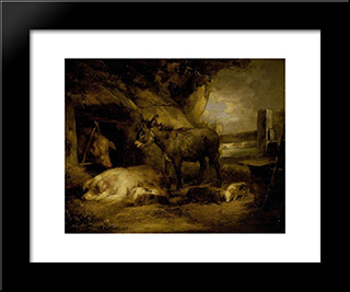 Donkey And Pigs: Modern Black Framed Art Print by George Morland