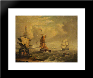 English And French Fishing Boats Off Yarmouth: Modern Black Framed Art Print by George Morland
