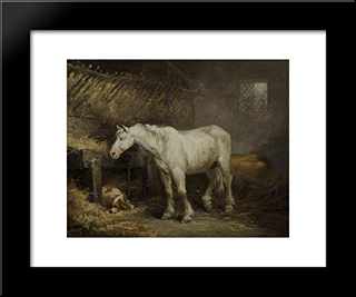 Horse And Dog In A Stable: Modern Black Framed Art Print by George Morland