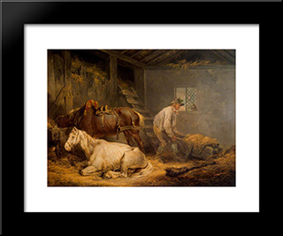 Horses In A Stable: Modern Black Framed Art Print by George Morland
