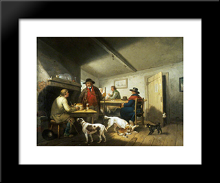 Interior Of A Country Inn: Modern Black Framed Art Print by George Morland