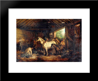 Interior Of A Stable: Modern Black Framed Art Print by George Morland