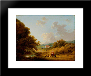 Landscape With A Gypsy Family: Modern Black Framed Art Print by George Morland