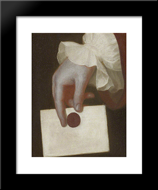 A Hand Holding A Letter: Modern Black Framed Art Print by George Romney