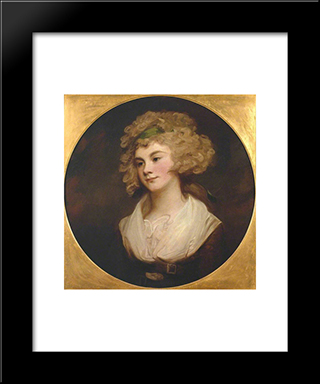 A Lady In A Brown Dress. 'The Parson'S Daughter': Modern Black Framed Art Print by George Romney