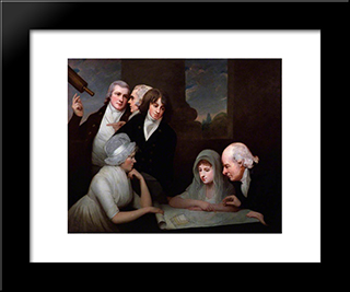 Adam Walker And His Family: Modern Black Framed Art Print by George Romney