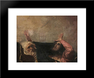 Alonso, King Of Naples And Another Figure (Fragment Of 'The Tempest Act I, Scene 1'): Modern Black Framed Art Print by George Romney