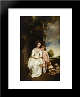 Anne, Countess Of Albemarle, And Her Son: Modern Black Framed Art Print by George Romney