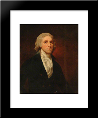 Captain Arthur Forbes: Modern Black Framed Art Print by George Romney
