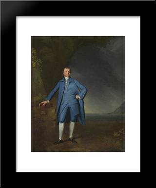 Captain Robert Banks (B.1734): Modern Black Framed Art Print by George Romney