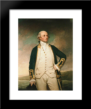 Captain William Peere Williams: Modern Black Framed Art Print by George Romney