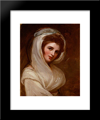 Emma, Lady Hamilton: Modern Black Framed Art Print by George Romney