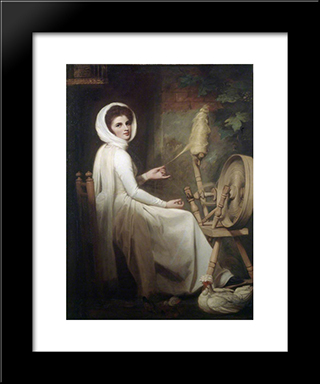 Emma Hart As The Spinstress: Modern Black Framed Art Print by George Romney