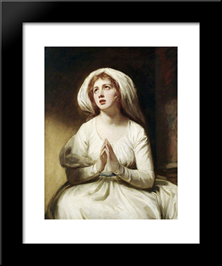 Emma Hart At Prayer: Modern Black Framed Art Print by George Romney
