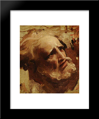 Head Of An Apostle: Modern Black Framed Art Print by George Romney