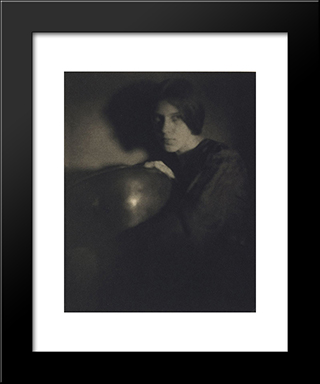 Girl With Bowl: Modern Black Framed Art Print by George Seeley