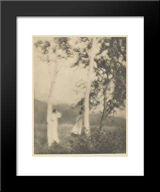 White Trees: Modern Black Framed Art Print by George Seeley