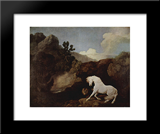 A Horse Frightened By A Lion: Modern Black Framed Art Print by George Stubbs
