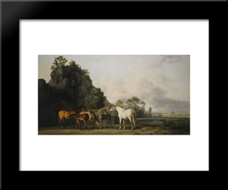 Brood Mares And Foals: Modern Black Framed Art Print by George Stubbs