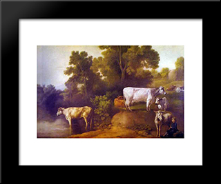 Cattle By A Stream: Modern Black Framed Art Print by George Stubbs