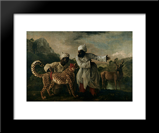 Cheetah With Two Indian Servants And A Deer: Modern Black Framed Art Print by George Stubbs