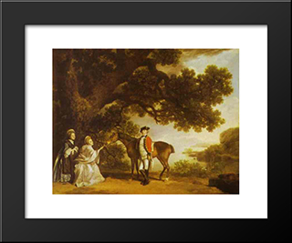 Colonel Pocklington With His Sisters: Modern Black Framed Art Print by George Stubbs
