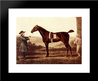 Diomed: Modern Black Framed Art Print by George Stubbs