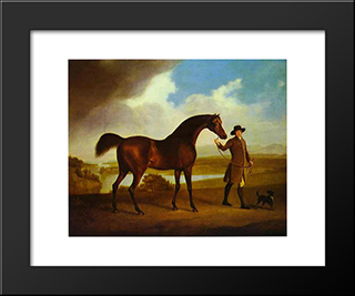 Earl Grosvenor'S Bandy: Modern Black Framed Art Print by George Stubbs