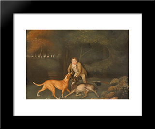 Freeman, The Earl Of Clarendon'S Gamekeeper, With A Dying Doe And Hound: Modern Black Framed Art Print by George Stubbs