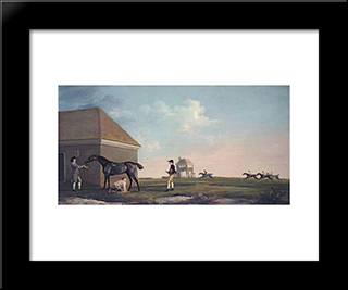 Gimcrack On Newmarket Heath, With A Trainer, A Stable Lad, And A Jockey: Modern Black Framed Art Print by George Stubbs