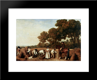 Harvest: Modern Black Framed Art Print by George Stubbs