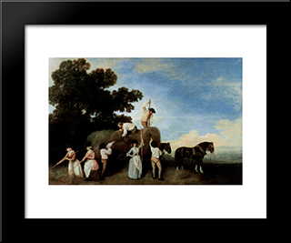 Hay Makers: Modern Black Framed Art Print by George Stubbs