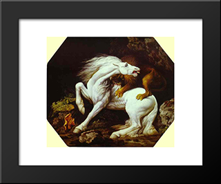 Horse Attacked By A Lion: Modern Black Framed Art Print by George Stubbs