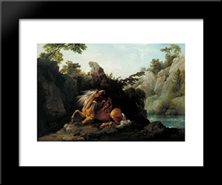 Horse Devoured By A Lion: Modern Black Framed Art Print by George Stubbs