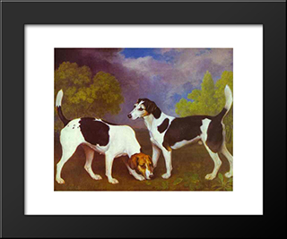 Hound And Bitch In A Landscape: Custom Black Wood Framed Art Print by George Stubbs