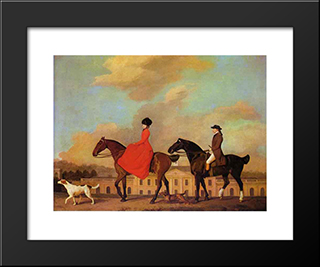 John And Sophia Musters Riding At Colwick Hall: Modern Black Framed Art Print by George Stubbs