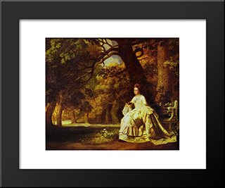 Lady Reading In A Wooded Park: Modern Black Framed Art Print by George Stubbs
