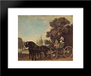 Lord And Lady In A Phaeton: Modern Black Framed Art Print by George Stubbs