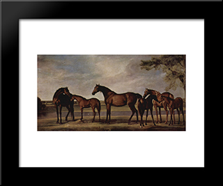 Mares And Foals Are Anxious Before A Looming Storm: Modern Black Framed Art Print by George Stubbs