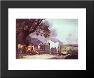 Mares And Foals In A Mountainous Landscape: Modern Black Framed Art Print by George Stubbs