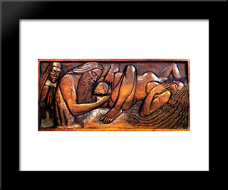 Birth, Wooden Bed Panel: Modern Black Framed Art Print by Georges Lacombe
