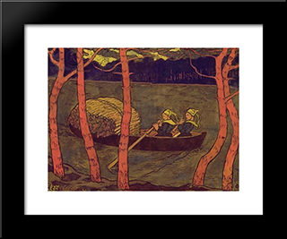 Boatwomen In Brittany: Modern Black Framed Art Print by Georges Lacombe